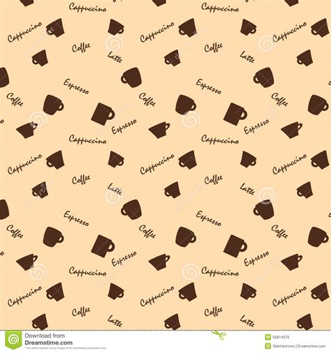 background pattern names coffee cups and names seamless background pattern stock