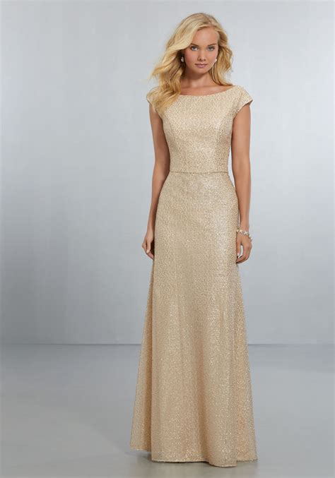 fitted caviar mesh bridesmaids dress with bateau neckline