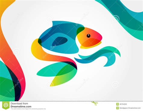 backdrop logo design abstract tropical fish on colorful background logo design