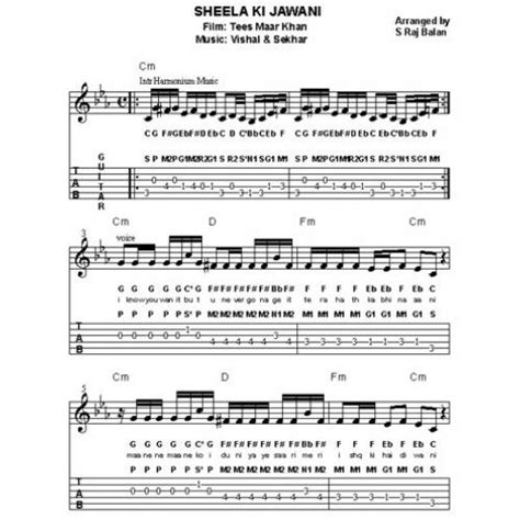 a pattern of notes used in indian music guitar guitar chords bollywood songs guitar chords