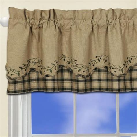 Primitive Window Curtains Blackberry Vine Primitive Curtain Valance Black Country Scalloped Window Curtain Curtains