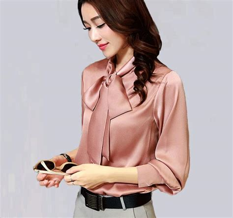 Supplier Realpict Lovely Blouse By Alijaya aliexpress buy big size sleeve bow blouse satin blouse formal
