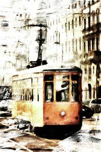 Painted orange tram is a piece of digital artwork by andrea barbieri