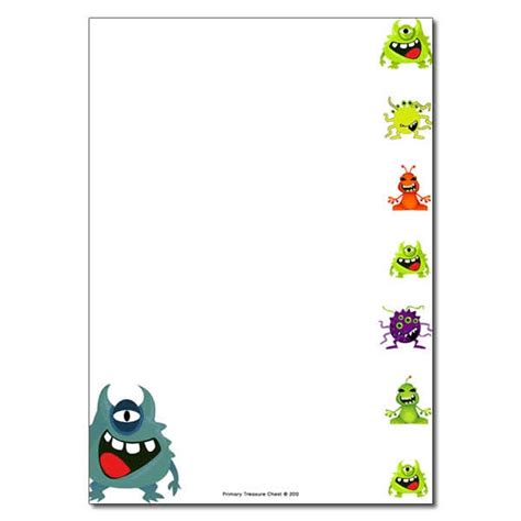 lined paper with alien border alien monster themed page border writing frame no lines