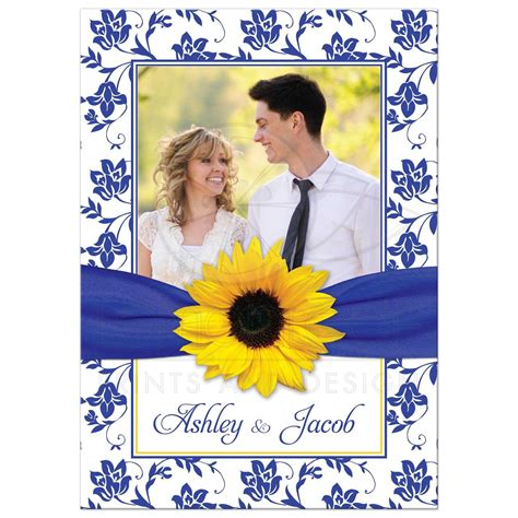 Wedding Invitation Yellow And Blue by Photo Wedding Invitation Sunflower Damask Royal Blue Yellow