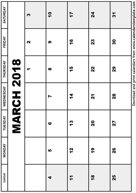 Calendar 2018 For March March 2018 Calendar Template