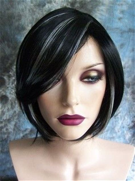 black hair with grey streaks black with white highlights short wig wigs not sure about