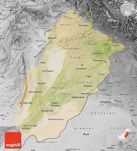 pakistan map satellite satellite map of punjab desaturated