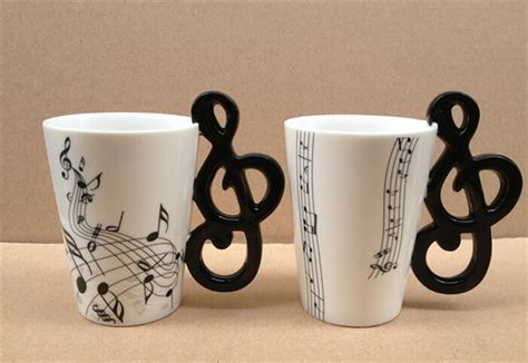 Music Notes Mug Ceramic cup Coffee Musical Items Drinkware Mugs Great Gift in Mugs from Home