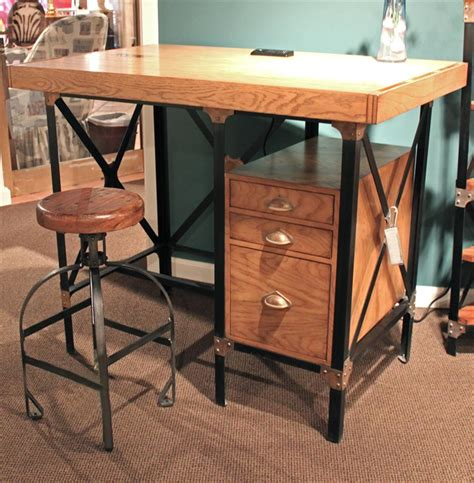 lucien industrial loft brown oak standing desk with stool