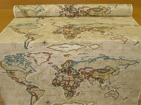 Atlas World Map Antique Prestigious Designer Fabric