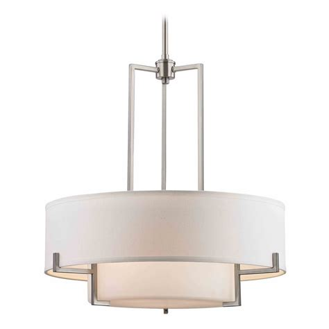 Modern White Nickel Drum Shade Modern Drum Pendant Light With White Glass In Satin Nickel