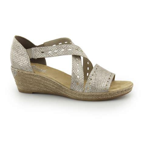 Sandal Wedges Jepit Spon 64 rieker 62455 64 slip on wedge heel sandals silver shuperb