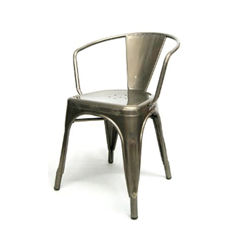 industrial metal chairs nz industrial arm chair tolix pewter glossy