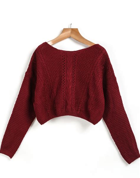 crop knit sweater sleeve cable knit crop sweater shein sheinside