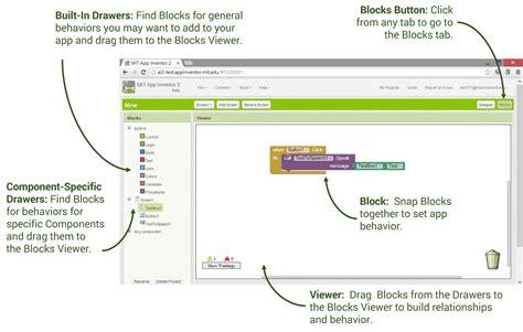 design app the block designer and blocks editor explore mit app inventor
