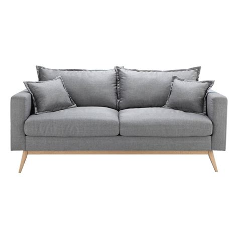 light grey fabric sofa 3 seater fabric sofa in light grey duke maisons du monde