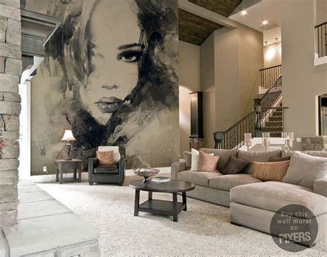living room portraits abstract woman portrait wall mural pixers 174 we live to