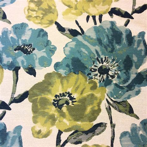 watercolor upholstery fabric turquoise watercolor floral flowers garden upholstery home