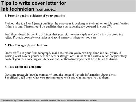 Evidence Technician Cover Letter by Lab Technician Cover Letter
