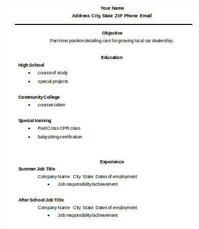 basic resume exles for highschool students 10 high school graduate resume templates pdf doc