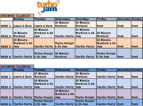 beachbody turbo jam workout schedule new calendar