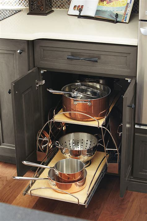 pots and pans storage pullout omega cabinetry