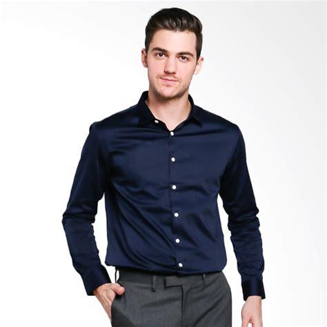Fashion Pria Atasan Kemeja Formal Lengan Panjang Navy Polos Xl Distro jual papercut cliff formal shirt kemeja pria navy