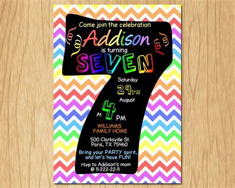 sle invitation card for 7th birthday 7th birthday invitation rainbow chevron pastel seventh