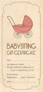 babysitting gift voucher template cheer gift idea babysitting aloha organizers