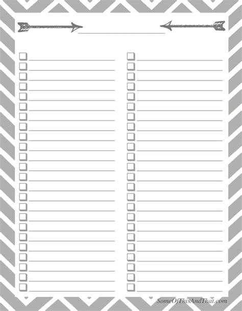 free printable blank checklist