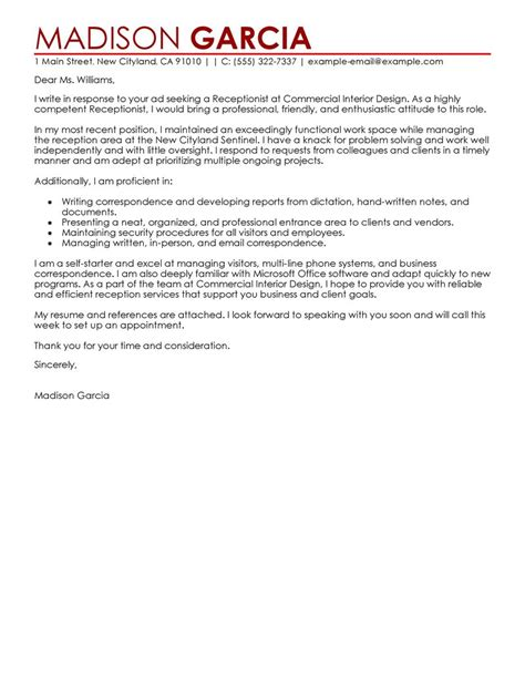 Email Cover Letter Receptionist Leading Professional Receptionist Cover Letter Exles Resources Myperfectcoverletter
