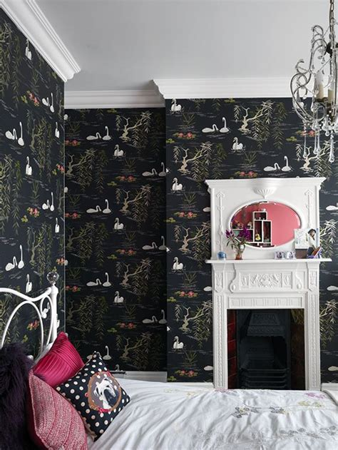 crazy cool kids bedroom  incredible black wallpaper
