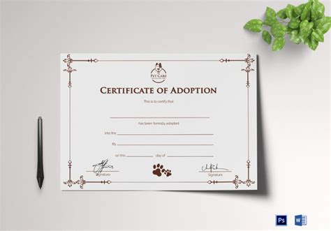 blank adoption certificate template 36 blank certificate template free psd vector eps ai