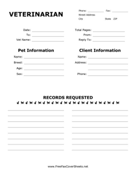 Vet Medical Records Fax Cover Sheet At Freefaxcoversheets Net