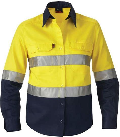 Glare Blouse orange cotton wrinkle resistant denim reflective security shirt sleeve buy