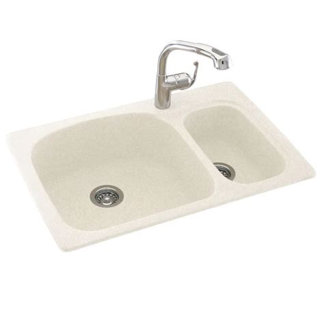 Solid Surface Undermount Sinks by Swan Drop In Undermount Solid Surface 33 In 1 70 30