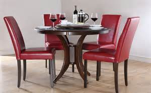 dark somerset amp city round dining room table and 4 leather