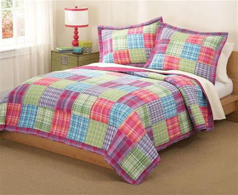 plaid bedding queen teen girl pink purple blue plaid patchwork 3pc full queen