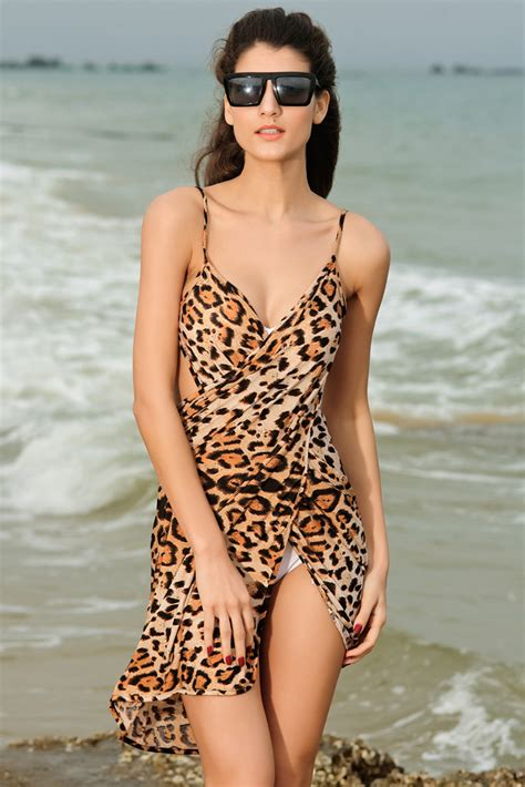 Kj 02 Xl leopardm 248 nstret strandkjole 3603 1001kjoler dk