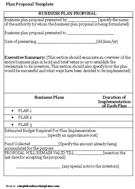business plan proposal template sample business templates