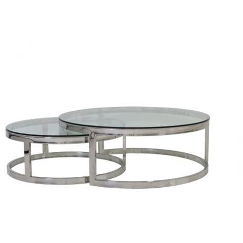 Couchtisch Set Rund by 2er Set Couchtisch Rund Silber Glas Metall Tisch Rund