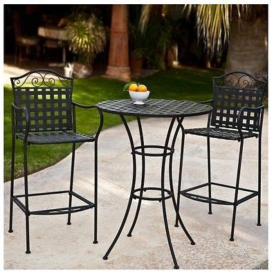 Wrought Iron Bistro Set Bar Height Pub Counter Tall Table