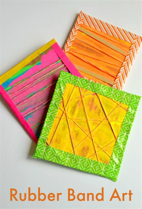 rubber sts arts and crafts rubber band printing with rubber bands mixed media