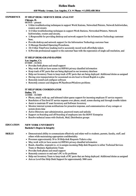 It Help Desk Resume by It Help Desk Resume Sles Velvet