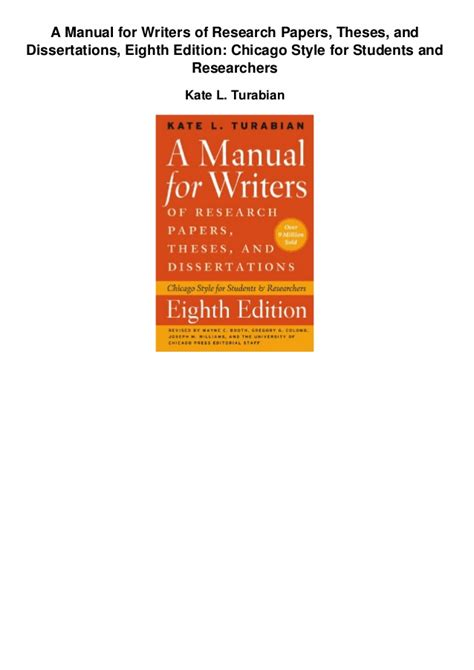 a manual for writers of research papers a manual for writers of research papers theses and