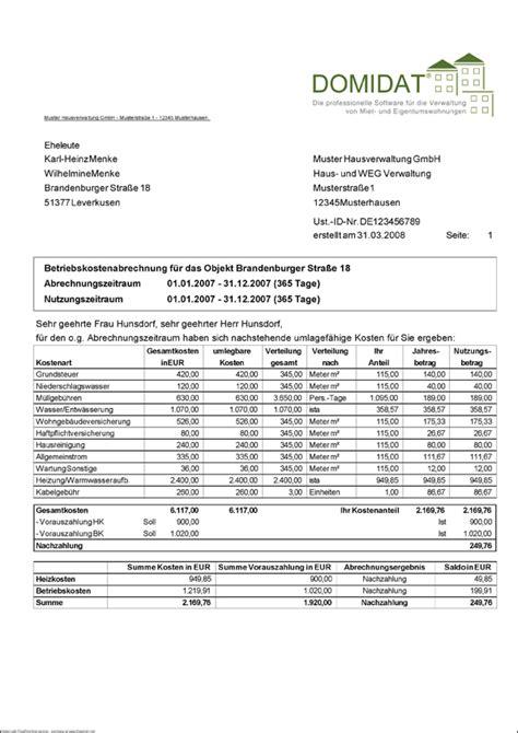nebenkosten berechnen wohnung hausverwaltung hunsdorf sondermietverwaltung weg