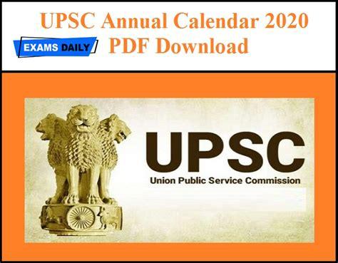 upsc annual calendar     exams daily
