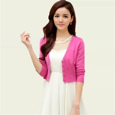 Two Color Sweater Pink knitting bolero cardigan light plain color