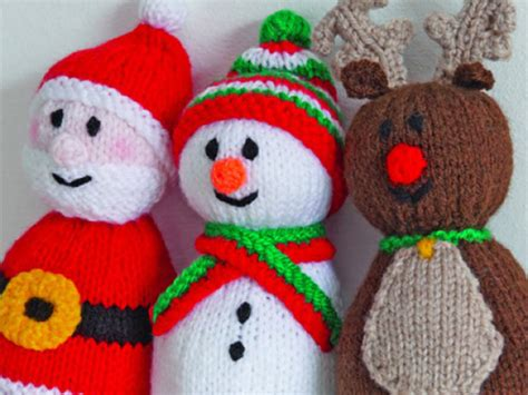 free knitting pattern xmas get festive with a santa reindeer and snowman knitting